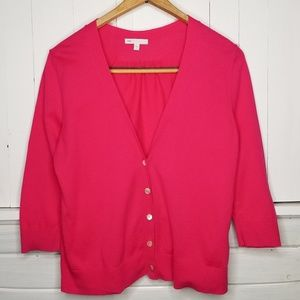 GAP Cardigan Dutton Down 3/4 Length Sleeves Pink